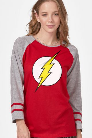 Camiseta Manga Longa Feminina The Flash Logo