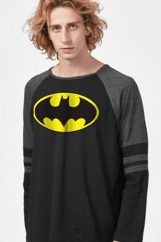 Camiseta Manga Longa Masculina Batman Logo Clássico