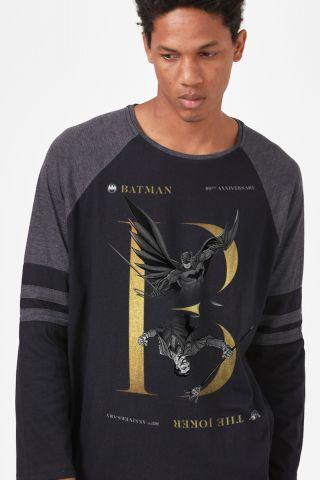 Camiseta Manga Longa Masculina Batman 80 Anos Nêmesis