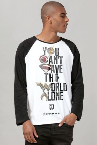Camiseta Manga Longa Masculina Liga da Justiça You Can't Save Color