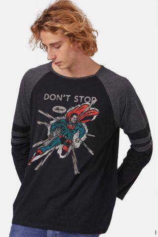 Camiseta Manga Longa Masculina Superman Don´t Stop
