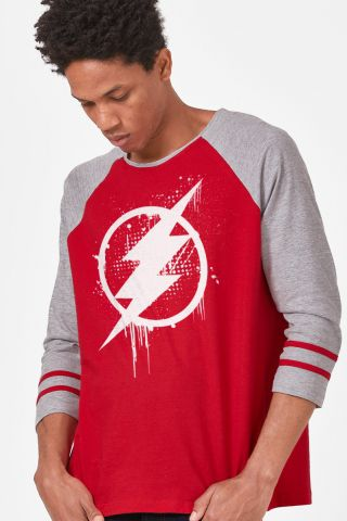 Camiseta Manga Longa Masculina The Flash Logo Spray