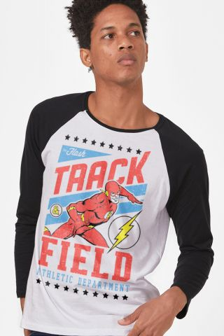 Camiseta Manga Longa Masculina The Flash Track & Field