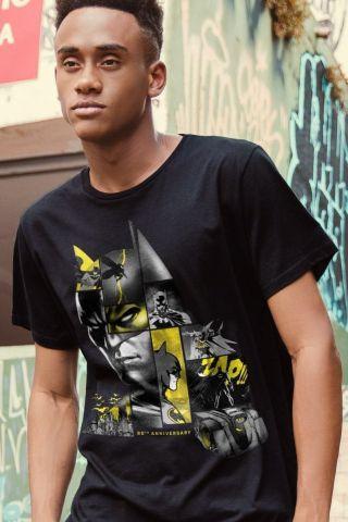 Camiseta Masculina Batman 80 Anos As Faces de Batman Black