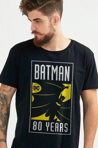 Camiseta Masculina Batman 80 Anos Selo O Início