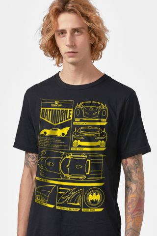 Camiseta Masculina Batman Batmóvel Blueprint