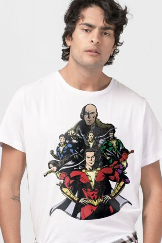 Camiseta Masculina Branca Shazam VS Doctor Sivana