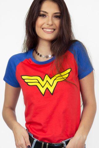 Camiseta Raglan Feminina Mulher Maravilha Logo