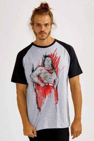 Camiseta Raglan Masculina Superman 80 Anos City