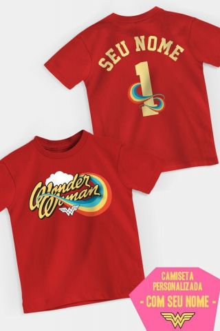Camiseta Infantil Mulher Maravilha Logo Name Personalizada