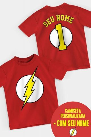 Camiseta Infantil The Flash Logo Name Personalizada