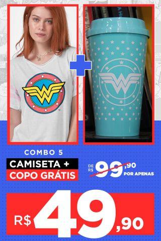 Combo Feminino Mulher Maravilha Camiseta + Copo