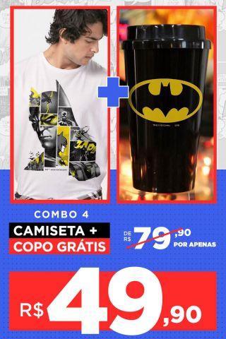 Combo Masculino Batman Camiseta + Copo