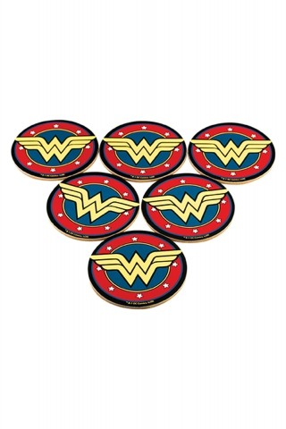 Conjunto com 6 Porta Copos Mulher Maravilha Core Gold Logo