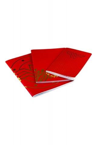Kit 3 Cadernetas de Anotações Mulher Maravilha Core Gold Logo