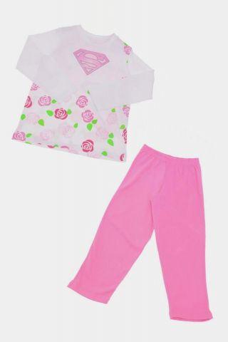 Pijama Infantil De Manga Longa Supergirl Flowers