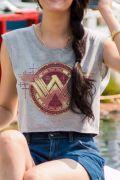 Blusa Cropped Feminina Mulher Maravilha Gold Logo