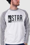 Camiseta Raglan Masculina The Flash Serie STAR Laboratories