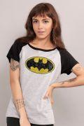 Camiseta Raglan Feminina Batman Logo Clássico