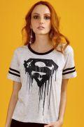 Camiseta Athletic Feminina Superman 80 Anos Logo Melting