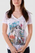 Camiseta Devorê Feminina Wonder Woman Grafitti