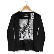 Camiseta Feminina de Manga Longa Tracing Batman e Robin