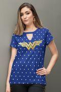 Camiseta Feminina Mulher Maravilha Chocker Foil