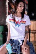Camiseta Feminina Mulher Maravilha Logo Glitter