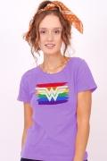 Camiseta Feminina Mulher Maravilha Logo Pride