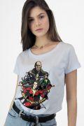 Camiseta Feminina Branca Shazam VS Doctor Sivana