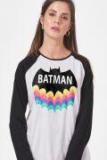 Camiseta Manga Longa Feminina Batman Rainbow