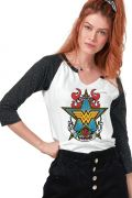 Camiseta Manga Longa Feminina Mulher Maravilha Old School