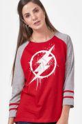 NÃO ATIVAR Camiseta Manga Longa Feminina The Flash Logo Spray