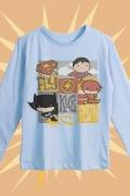 Camiseta Manga Longa Infantil Batman, Superman e The Flash