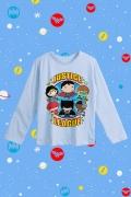 Camiseta Manga Longa Infantil Liga da Justiça Chibi