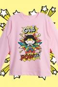 Camiseta Manga Longa Infantil Mulher Maravilha Girl Power