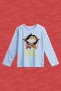 Camiseta Manga Longa Infantil Mulher Maravilha Star