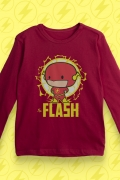 Camiseta Manga Longa Infantil The Flash Chibi