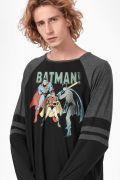 Camiseta Manga Longa Masculina Batman Baseball