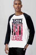 Camiseta Manga Longa Masculina Liga da Justiça Flags