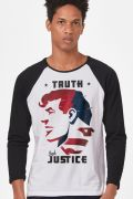 Camiseta Manga Longa Masculina Superman Truth and Justice
