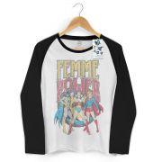Camiseta Manga Longa Raglan Feminina Power Girls Femme Power