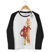 Camiseta Manga Longa Raglan Feminina The Flash Running