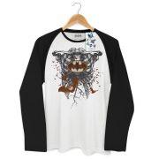 Camiseta Manga Longa Raglan Masculina Batman Skull