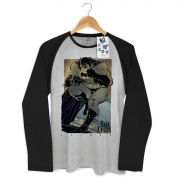 Camiseta Manga Longa Raglan Masculina Batman The Dark Knight Frank Miller Classic