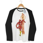 Camiseta Manga Longa Raglan Masculina The Flash Running