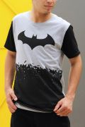 Camiseta Masculina Bicolor Batman Logo Bats