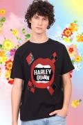 Camiseta Masculina Esquadrão Suicida Arlequina Lips