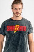 Camiseta Masculina Marmorizada Shazam Logo