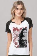 Camiseta Raglan Feminina Liga da Justiça Mulher Maravilha